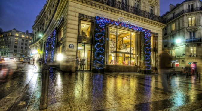 Cartier on the Champs-Élysées at Christmas